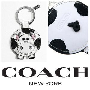Coach Cow Keychain-Rare!! Black and White Learher